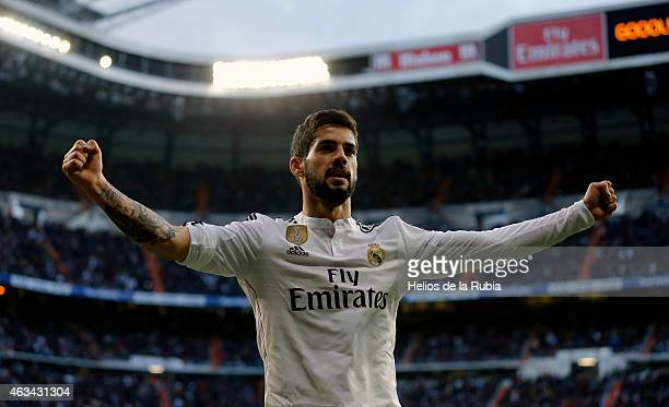 Isco Alarcon of Real Madrid celebrates after scoring during the La Liga match between Real Madrid CF and RC Deportivo La Coruna at Estadio Santiago...