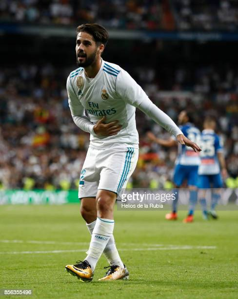 Isco Alarcon of Real Madrid celebrates after scoring during the La Liga match between Real Madrid and Espanyol at Estadio Santiago Bernabeu on...