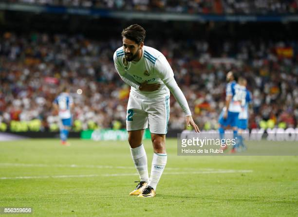 Isco Alarcon of Real Madrid celebrates after scoring during the La Liga match between Real Madrid and Espanyol at Estadio Santiago Bernabeu on...