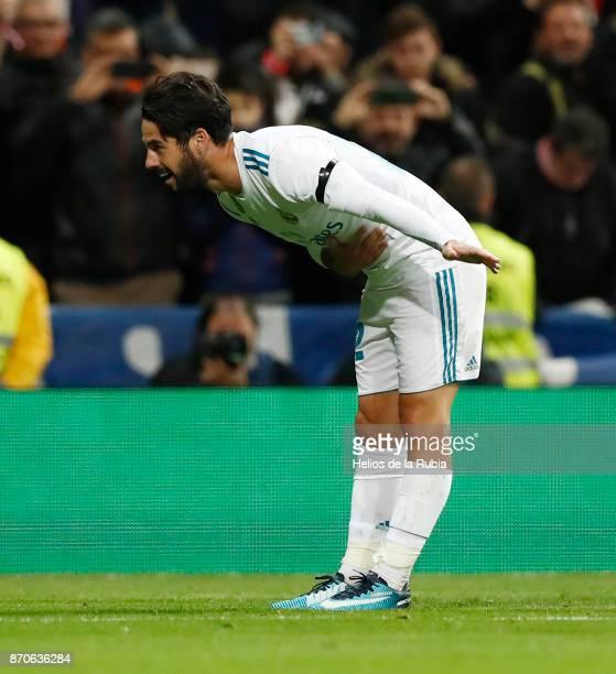 Isco Alarcon of Real Madrid celebrates after scoring during the La Liga match between Real Madrid and Las Palmas at Estadio Santiago Bernabeu on...