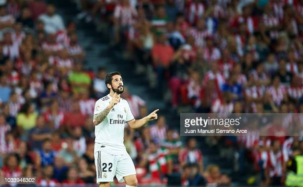 Isco Alarcon of Real Madrid celebrates after scoring goal during the La Liga match between Athletic Club Bilbao and Real Madrid at San Mames Stadium...
