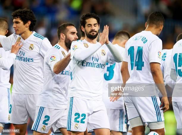 Isco Alarcon of Real Madrid celebrates after scoring goal during the La Liga match between Malaga CF and Real Madrid CF at Estadio La Rosaleda on...