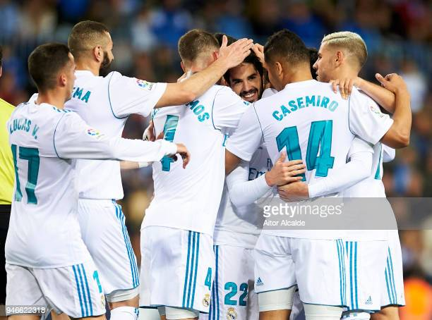 Isco Alarcon of Real Madrid celebrates after scoring goal during the La Liga match between Malaga CF and Real Madrid CF at Estadio La Rosaleda on...