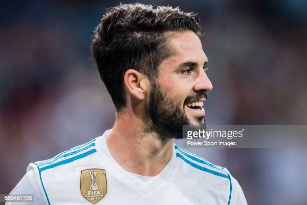 Isco Alarcon of Real Madrid celebrates after scoring his goal during the La Liga 201718 match between Real Madrid and RCD Espanyol at Estadio...