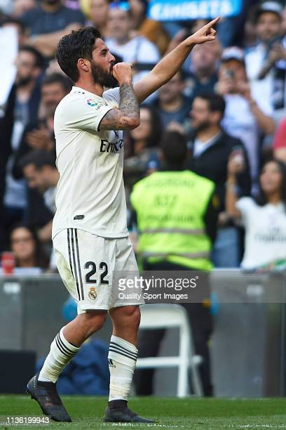 Isco Alarcon of Real Madrid celebrates after scoring his team's first goal during the La Liga match between Real Madrid CF and RC Celta de Vigo at...