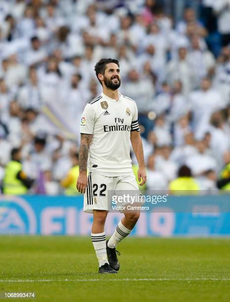Isco Alarcon of Real Madrid celebrates after scoring his team's fourth goal during the Spanish Copa del Rey second leg match between Real Madrid and...
