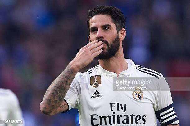Isco Alarcon of Real Madrid celebrates after scoring his team's sixth goal during the Spanish Copa del Rey second leg match between Real Madrid and...