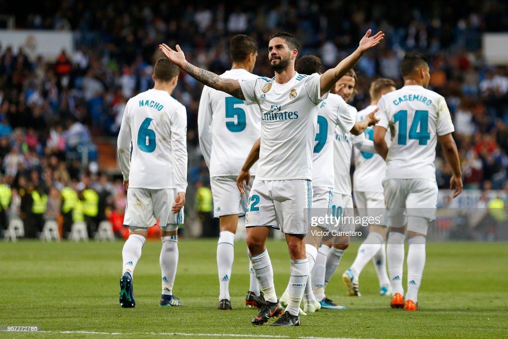 Isco Alarcon of Real Madrid celebrates after scoring his team's third goal during the La Liga match between Real Madrid and Celta de Vigo at Estadio Santiago Bernabeu on May 12, 2018 in Madrid, .