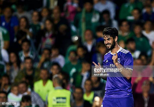 Isco Alarcon of Real Madrid CF celebrates after scoring during the match between Real Betis Balompie and Real Madrid CF as part of La Liga at Benito...