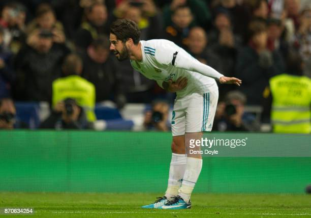Isco Alarcon of Real Madrid CF celebrates after scoring his team's 3rd goal during the La Liga match between Real Madrid and Las Palmas at Estadio...