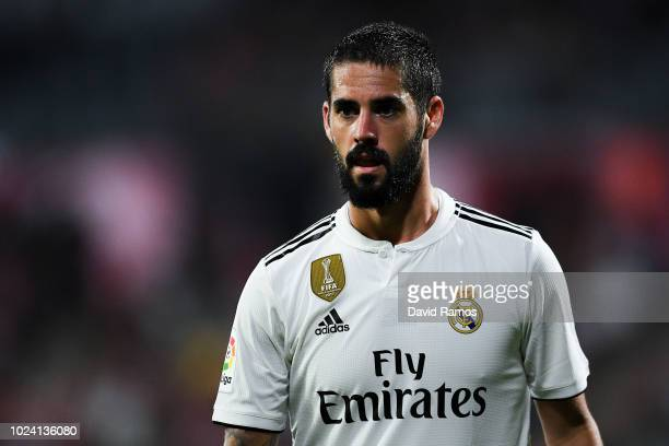 Isco Alarcon of Real Madrid CF looks on during the La Liga match between Girona FC and Real Madrid CF at Montilivi Stadium on August 26 2018 in...