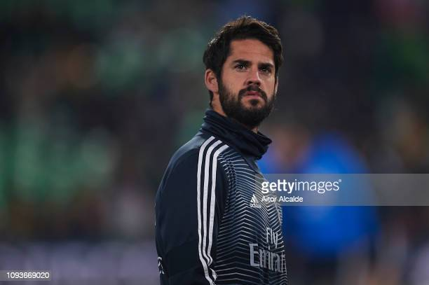 Isco Alarcon of Real Madrid CF looks on during the La Liga match between Real Betis Balompie and Real Madrid CF at Estadio Benito Villamarin on...