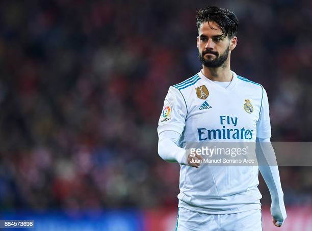 Isco Alarcon of Real Madrid CF looks on during the La Liga match between Athletic Club and Real Madrid at Estadio de San Mames on December 2 2017 in...