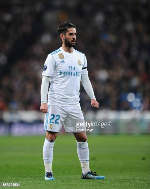Isco Alarcon of Real Madrid CF looks on during the UEFA Champions League group H match between Real Madrid and Borussia Dortmund at Estadio Santiago...