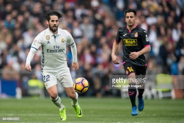 Isco Alarcon of Real Madrid fights for the ball with Jose Manuel Jurado Marin of RCD Espanyol during the match Real Madrid vs RCD Espanyol a La Liga...