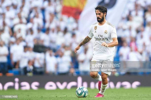 Isco Alarcon of Real Madrid in action during the Liga match between Real Madrid CF and Real Valladolid CF at Estadio Santiago Bernabeu on August 24...