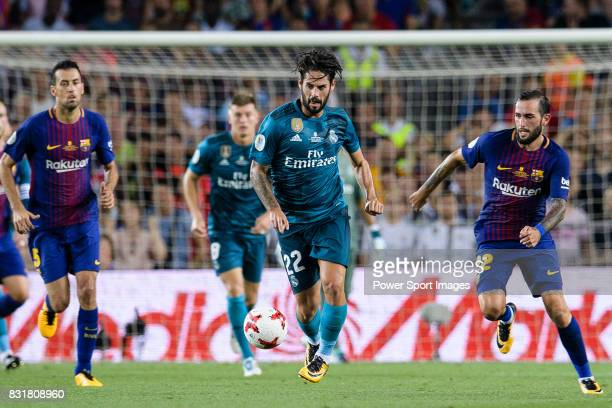 Isco Alarcon of Real Madrid in action during the Supercopa de Espana Final 1st Leg match between FC Barcelona and Real Madrid at Camp Nou on August...