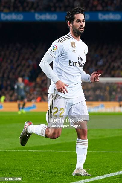 Isco Alarcon of Real Madrid looks on during the Liga match between FC Barcelona and Real Madrid CF at Camp Nou on December 18, 2019 in Barcelona,...