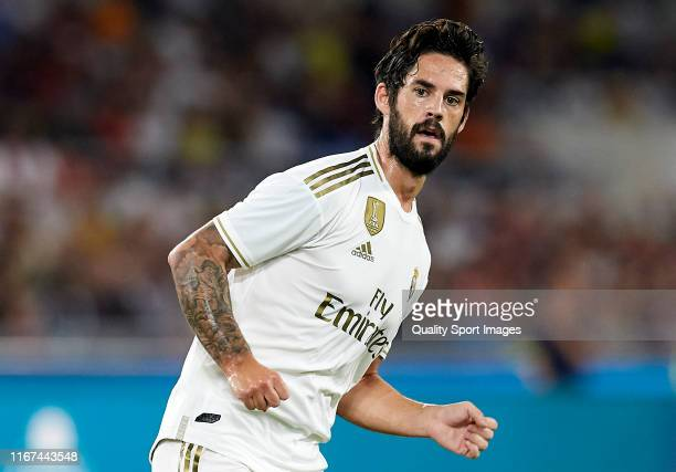 Isco Alarcon of Real Madrid looks on during the preseason friendly match between AS Roma and Real Madrid at Stadio Olimpico on August 11 2019 in Rome...