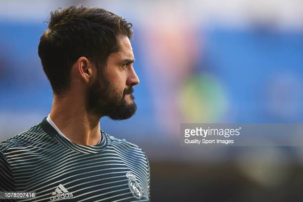Isco Alarcon of Real Madrid looks on prior to the Spanish Copa del Rey second leg match between Real Madrid and UD Melilla at Santiago Bernabeu on...