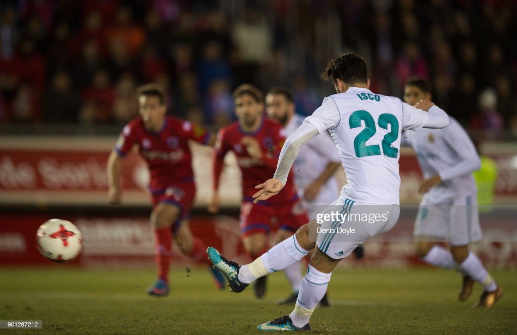 Isco Alarcon of Real Madrid scores Real's 2nd goal from the penalty spot goal during the Copa del Rey match between Numancia and Real Madrid at Nuevo Estadio Los Pajarito on January 4, 2018 in Soria, Spain.