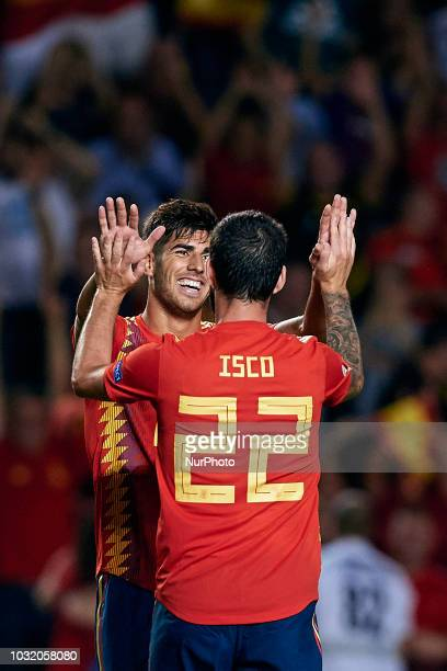 Isco Alarcon of Spain celebrates a goal with his teammate Marco Asensio during the UEFA Nations League A group four match between Spain and Croatia...