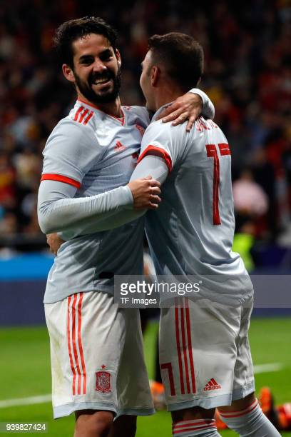 Isco Alarcon of Spain celebrates after scoring a goal with Iago Aspas of Spain during the international friendly between Spain and Argentina at Wanda...