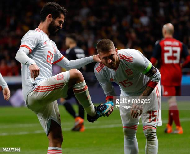 Isco Alarcon of Spain celebrates after scoring a goal with team mates during the international friendly between Spain and Argentina at Wanda...