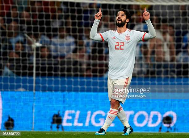 Isco Alarcon of Spain celebrates after scoring his sides second goal during the international friendly match between Spain and Argentina at Wanda...