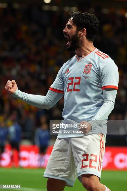 Isco Alarcon of Spain celebrates after scoring his sides sixth goal during the international friendly match between Spain and Argentina at Wanda...