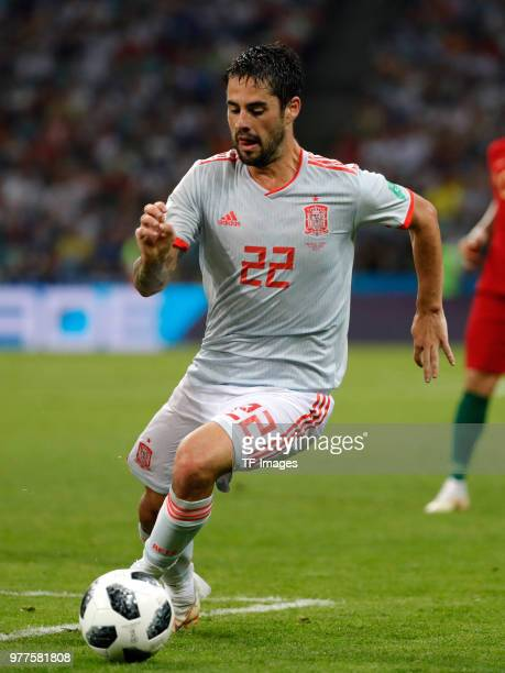 Isco Alarcon of Spain controls the ball during the 2018 FIFA World Cup Russia group B match between Portugal and Spain at Fisht Stadium on June 15...