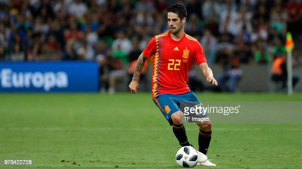 Isco Alarcon of Spain controls the ball during the friendly match between Spain and Tunisia at Krasnodar's stadium on June 9 2018 in Krasnodar Russia