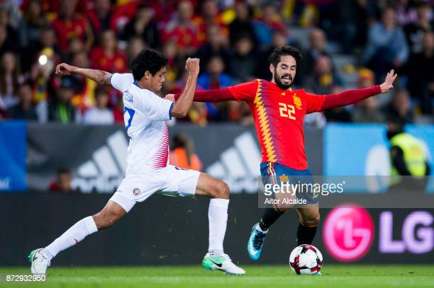 Isco Alarcon of Spain duels for the ball with Yeltsin Tejeda of Costa Rica during the international friendly match between Spain and Costa Rica at La...
