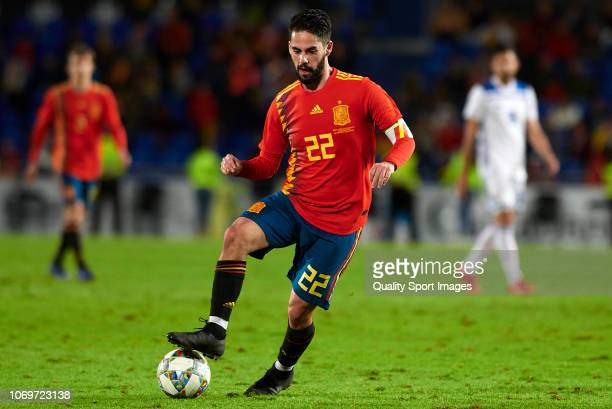 Isco Alarcon of Spain in action during the international friendly match between Spain and Bosnia & Herzegovina at Estadio de Gran Canaria on November...