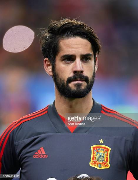 Isco Alarcon of Spain looks on during the international friendly match between Spain and Costa Rica at La Rosaleda Stadium on November 11 2017 in...