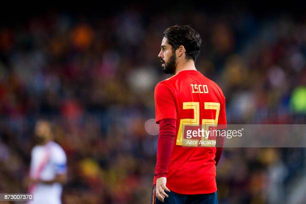 Isco Alarcon of Spain reacts during the international friendly match between Spain and Costa Rica at La Rosaleda Stadium on November 11 2017 in...