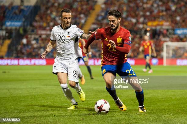 Isco and Ergys Kace during the qualifying match for the World Cup Russia 2018 between Spain and Albaniaat the Jose Rico Perez stadium in Alicante,...