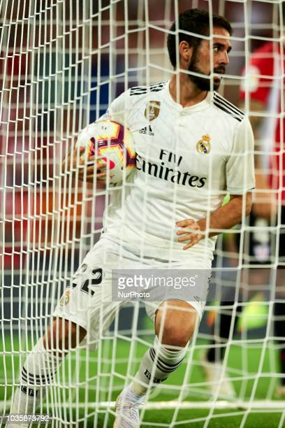 Isco celebrates after scoring his sides first goal during the match between Athletic Club against Real Madrid at San Mames Stadium in Bilbao Spain on...