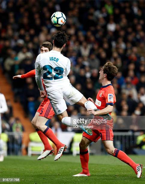 Isco in action during the match Feb 2018 Madrid Spain Real Madrid and Real Sociedad at Estadio Santiago Bernabeu