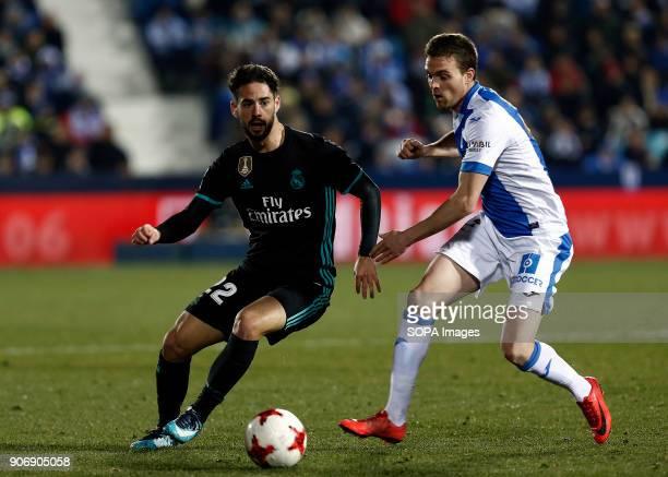 STADIUM LEGANéS MADRID SPAIN Isco in action during the match Jan 2018 Leganés CD and Real Madrid CF at Butarque Stadium Copa del Rey Quarter Final...