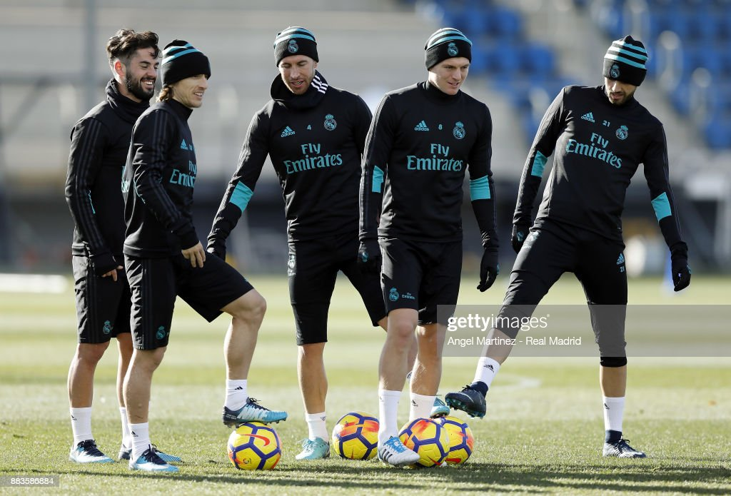 Isco, Luka Modric, Sergio Ramos, Toni Kroos and Borja Mayoral of Real Madrid during a training session at Valdebebas training ground on December 1, 2017 in Madrid, Spain.