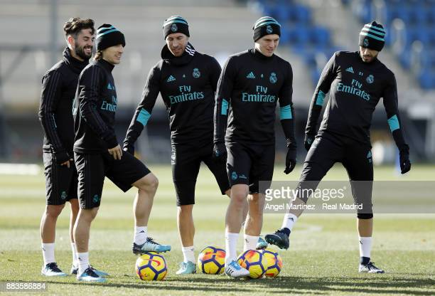 Isco Luka Modric Sergio Ramos Toni Kroos and Borja Mayoral of Real Madrid during a training session at Valdebebas training ground on December 1 2017...