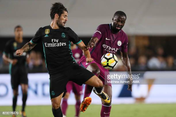 Isco of Real Madrid and Yaya Toure of Manchester City during the International Champions Cup 2017 match between Manchester City and Real Madrid at...
