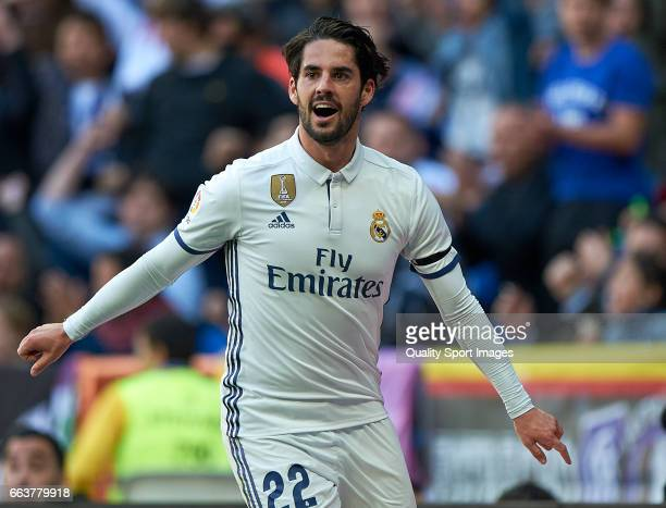 Isco of Real Madrid celebrates after scoring a goal during the La Liga match between Real Madrid and Deportivo Alaves at Estadio Santiago Bernabeu on...