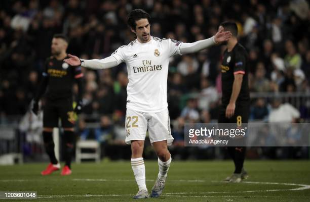 Isco of Real Madrid celebrates after scoring a goal during the UEFA Champions League round of 16 first leg soccer match between Real Madrid and...