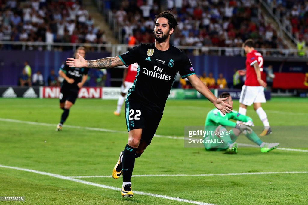 Isco of Real Madrid celebrates after scoring his sides second goal during the UEFA Super Cup match between Real Madrid and Manchester United at National Arena Filip II Macedonian on August 8, 2017 in Skopje, Macedonia.