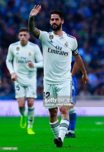 Isco of Real Madrid celebrates after scoring his team's fourth goal during the Copa del Rey fourth round match between Real Madrid and Melilla at...