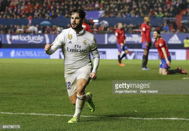 Isco of Real Madrid celebrates after scoring his team's second goal during the La Liga match between CA Osasuna and Real Madrid CF at El Sadar...