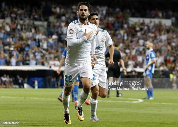 Isco of Real Madrid celebrates after scoring his team's second goal during the La Liga match between Real Madrid and Espanyol at Estadio Santiago...