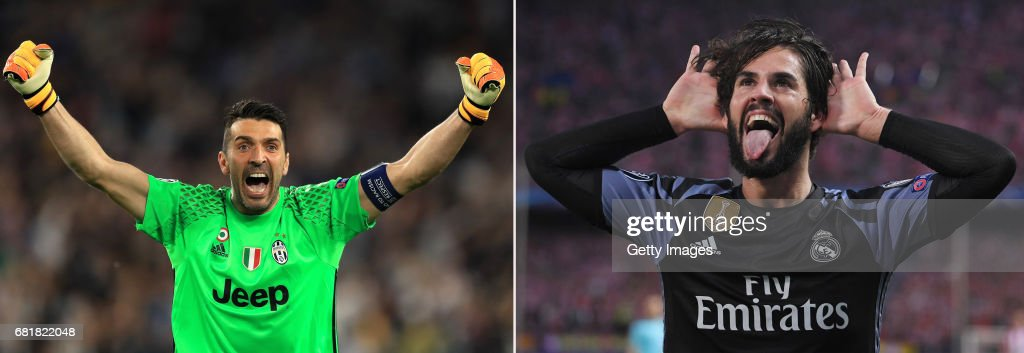 IMAGES - Image numbers (L) 680965392 and 681620400) In this composite image a comparision has been made between Gianluigi Buffon of Juventus and Isco of Real Madrid. Juventus will meet Real Madrid in the Champions League Final at the Millennium Stadium,National Stadium of Wales on June 3, 2017 in Cardiff,Wales. MADRID, SPAIN - MAY 10: Isco of Real Madrid celebrates scoring his team's opening goal during the UEFA Champions League Semi Final second leg match between Club Atletico de Madrid and Real Madrid CF at Vicente Calderon Stadium on May 10, 2017 in Madrid, Spain.